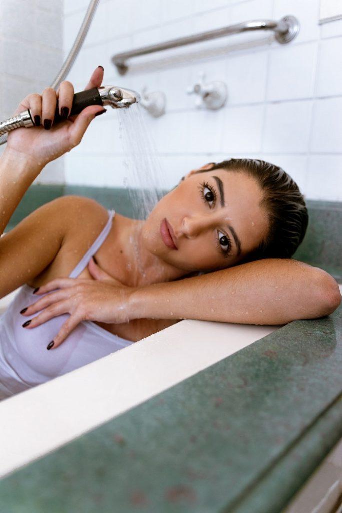 woman taking shower