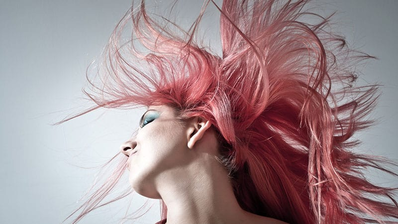 woman enjoying her pink hair