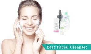 beautiful woman smiling and washing face