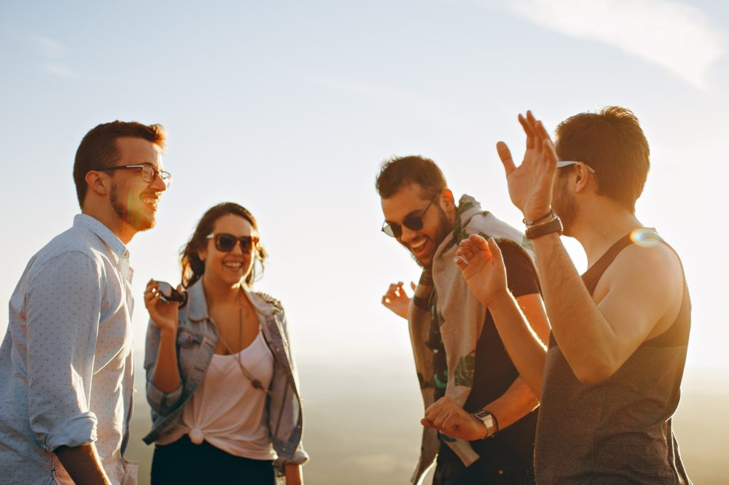 a group of friends in sunglasses